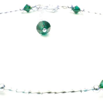 """Handmade """"Whispers"""" Sterling Silver Ankle Bracelet  -  Birthmonth  Emerald May"""