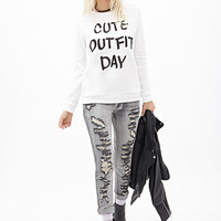FOREVER 21 Cute Outfit Sweatshirt Cream/Black