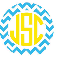 "Chevron Monogram Decal 5"" Sticker"