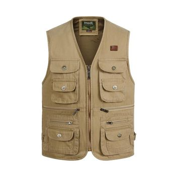 Vest Men Tactical SWAT Combat Paintball Waistcoat Male Casual Many Pockets Multi-Function Photography Travel Cottton Vests Coat