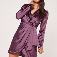 Missguided - Silky Long Sleeve Wrap Shift Dress Dusky Purple