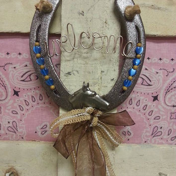 Decorated Horseshoe, Welcome Sign, Horseshoe Decor, Housewarming Gift, Home Decor, Horse Decor, Country Home, Door Decor, Equestrian Gifts
