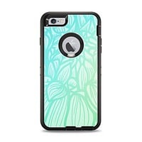The Faded Blue & Green Subtle Floral Apple iPhone 6 Plus Otterbox Defender Case Skin Set