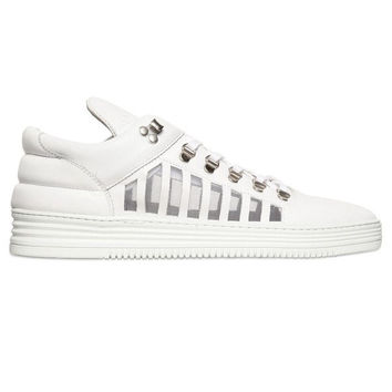 Cocaine White Leather Cut Out Sneakers by Filling Pieces