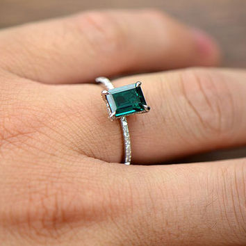 6x8mm Emerald 14K White Gold Pave VS/H Diamond Engaement  Ring/Wedding Ring/Promise Ring
