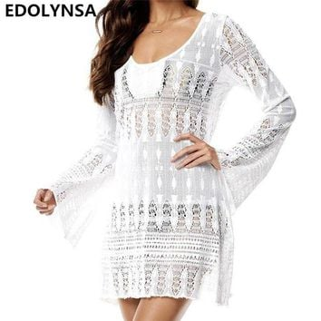 DCCKLW8 New Arrivals Sexy Beach Cover up Crochet White Swimwear Dress Ladies Bathing Suit Cover ups Beach Tunic Saida de Praia #Q164
