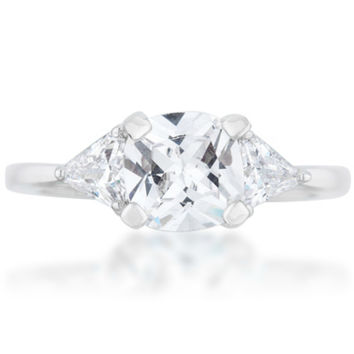 Shonda Three Stone Clear Cushion Cut Engagement Ring | 2ct | Cubic Zirconia