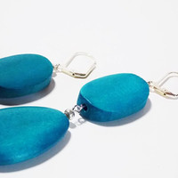 Teal Wood Drop Earrings, Oval and Teardrop Wood Beads with Silver lever back Hooks
