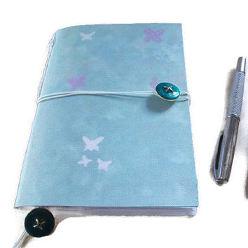A5 Handmade Notebook/Journal with Original Art Print cover in Green with Butterflies. Hand stitched. Gift Idea, Stationery,