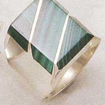 Sterling Silver Men's Large Simulated Malachite Rectangular Striped Ring