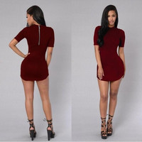 Short Sleeve Back Zippered Bodycon Dress