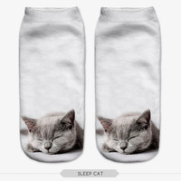 Multiple Colors Harajuku 3D Printed Cat figure Women's Socks Calcetines Casual Animal Modelling Socks Unisex Low Cut Ankle Socks
