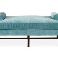 Anne Velvet Day Chaise, Calypso Blue, Daybeds