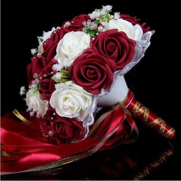 modabelle Burgundy Wedding Bouquet Buque De Noiva Artificial Bridesmaid Flower Bouquet 2017 Bouquet De Mariee White
