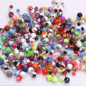 Sunshinesmile Mix Color Acrylic Barbell Naval Belly Button Ring Piercing Jewelry 30pcs