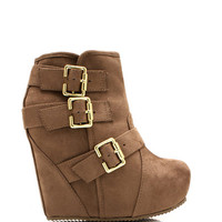 Bold-Buckled-Wedge-Booties BLACK TAUPE - GoJane.com