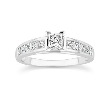 JewelMore 14K White Gold 1.75ct TDW Princess-Cut Diamond Engagement Ring Set