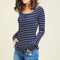 Henley Which Way Top in Striped Navy | Mod Retro Vintage Short Sleeve Shirts | ModCloth.com