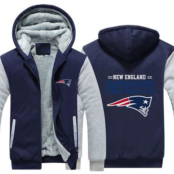 NFL American football Men's winter casual jacket Warm thicken hoodies New England Patriots