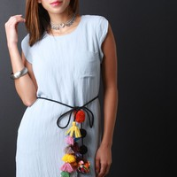 Colorful Pom Pom And Tassel Tie Belt