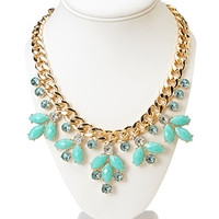 Sparkling Floral Chain Necklace