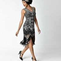 Unique Vintage 1920s Deco Silver & Black Veronique Fringe Flapper Dress