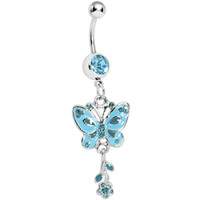 Aqua Gem Lovely Butterfly Flower Belly Ring | Body Candy Body Jewelry