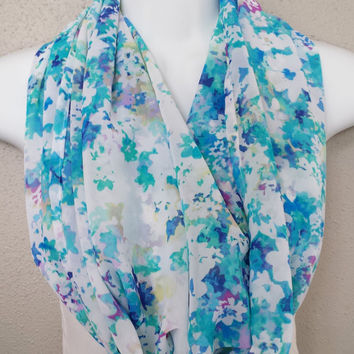 Scattered Pastel Flowers Chiffon Infinity Scarf Womens Floral Spring Scarf Girls Fashion Chiffon Circle Scarf Lightweight Spring Scarf
