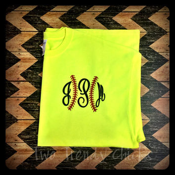 Monogrammed Softball Tee - Personalized Softball Tee - Softball - Custom Heat pressed T-Shirt - Short Sleeve