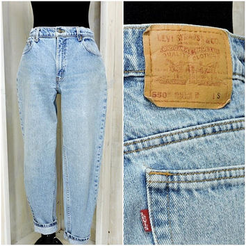 Vintage Levis mom jeans size 9/ 10 / womens Levis 550 relaxed fit jeans 31 X 28 / high waisted tapered leg / high waist  peg leg Levis