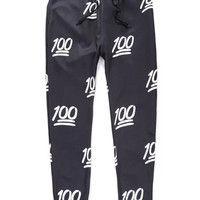 Black and White 100 Emoji Joggers Pants