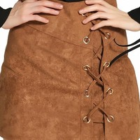 Brown Faux Suede Lace Up Pencil Skirt - Choies.com