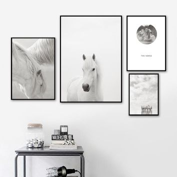 Horse Sea Sky Landscape Wall Art Canvas Painting Nordic Posters And Prints Black White Wall Pictures For Living Room Home Decor