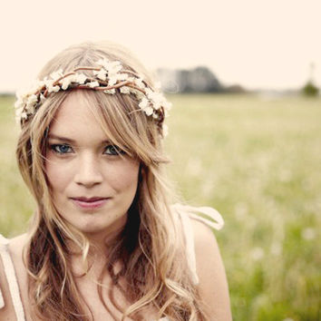 Wedding crown, wedding headband, Rustic boho wreath, bridal hair, wedding accessory - ADELINE