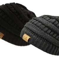 Trendy Warm Chunky Soft Stretch Cable Knit Slouchy Beanie Skully, Gift Set-Black & Charcoal, One Size