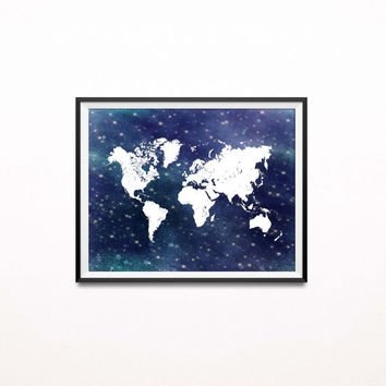 Starry Night Art Print, Nautical World Map Print, Navy and White Nursery Decor, Travel Themed Adventure Print, Wanderlust, Graduation Gift