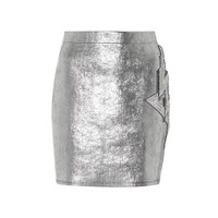 Embellished metallic miniskirt