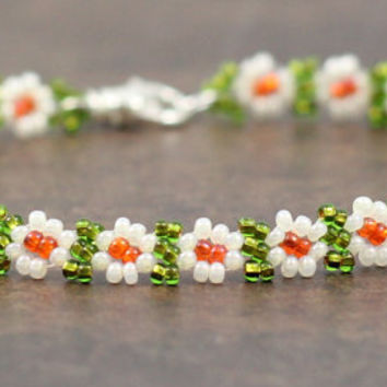 Adult Beaded Daisy Chain Anklet Seed Bead Jewelry White Green Orange