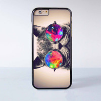 """Cute cat with Galaxy sunglasses plastic phone case for iPhone 6 (4.7"""")  More case style can be selected"""