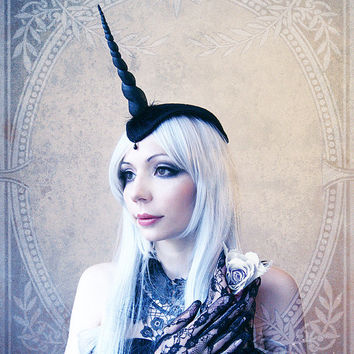 Unicorn Fascinator (Goth, Gothic, Costume, black, headpiece )