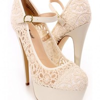 Beige Crochet Mary Jane Heels Lace