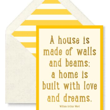 A House Is Made Of Walls And Beams Greeting Card, Single Folded Card or Boxed Set of 8
