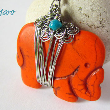 Orange Howlite Elephant Wire Wrap Pendant by SandstarJewelry