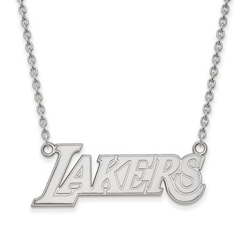 NBA Los Angeles Lakers Lg Pendant Necklace in Sterling Silver - 18 in