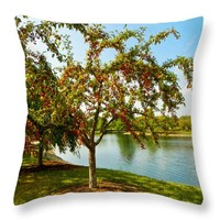 "Mcbride Arboretum Crabapple Trees Throw Pillow for Sale by Shawna Rowe - 14"" x 14"""