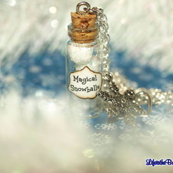 Magical Snowballs Christmas Necklace with a Snowflake Charm Let It Snow Inspired by Disney Christmas