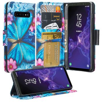 Samsung Galaxy S10 Plus Case, Galaxy S10+ Wallet Case, Wrist Strap Pu Leather Wallet Case [Kickstand] with ID & Credit Card Slots - Blue Butterfly