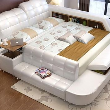 Genuine Leather Bed  With Storage For Living Room Furniture