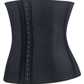 Imilan Women Sport Latex Steel Boned Corsets and Bustiers Waist Training Cincher ((US Size 2-4) S, Black)