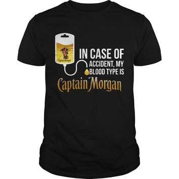 In case of accident my blood type is Captain Morgan shirt Premium Fitted Guys Tee